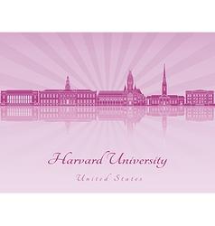 Harvard university skyline in purple radiant vector