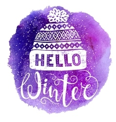 Hello winter text and knitted woolen cap on vector image vector image