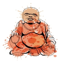 Laughing buddha or hotei sitting vector