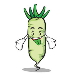 Money mouth white radish cartoon character vector