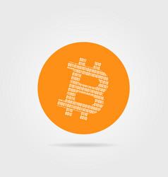 Orange bitcoin logo with shadow vector