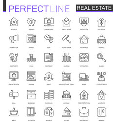 real estate thin line web icons set outline vector image vector image