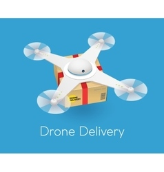 Remote air white modern drone with a box flying vector