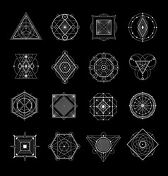 sacred geometry on black set vector image