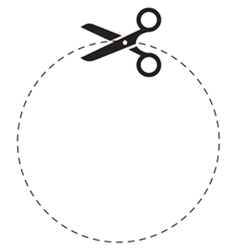 Scissors circle cut line vector image