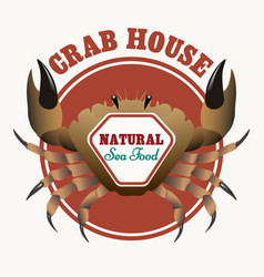 sea food restaurant emblem vector image vector image