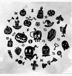 set of cartoon happy halloween icons halloween vector image vector image