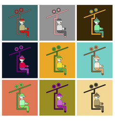 Set of icons in flat design man on ski lift vector