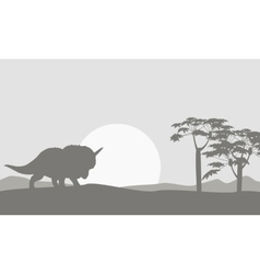 Silhouette of one triceratops scenery vector