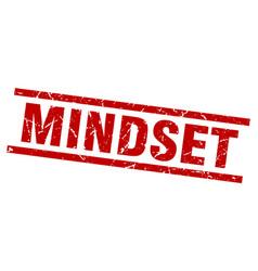Square grunge red mindset stamp vector
