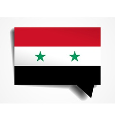 Syria flag paper 3d realistic speech bubble on vector