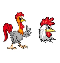 Two colorful roosters vector image vector image