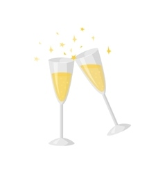 Two glasses champagne isolated on white vector image vector image