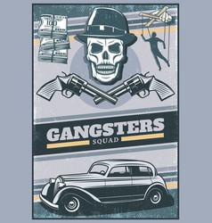 vintage colored gangster poster vector image vector image