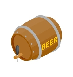 Wooden barrel of beer with a tap isometric 3d icon vector