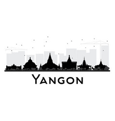 Yangon city skyline black and white silhouette vector