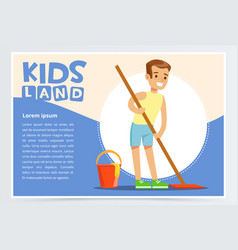young smiling boy cleaning the floor with mop kid vector image vector image