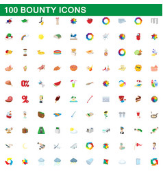 100 bounty icons set cartoon style vector