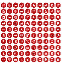 100 call center icons hexagon red vector