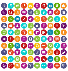 100 mobile app icons set color vector
