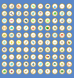 100 office supplies icons set cartoon vector