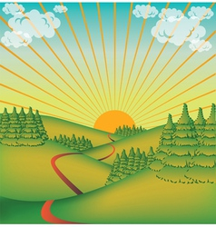 Landscape in the sun vector