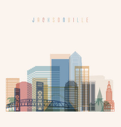 Jacksonville state florida skyline detailed silhou vector