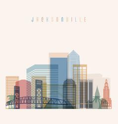 jacksonville state florida skyline detailed silhou vector image