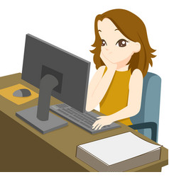 Business woman working on desktop computer and vector