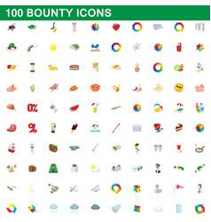 100 bounty icons set cartoon style vector