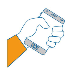 Isolated hand taking cellphone vector