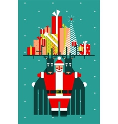 Santa with deers gifts and presents congratulates vector