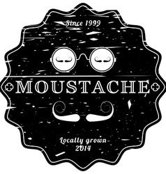Mustache black retro emblem - vintage grunge vector