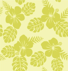 Tropical pattern with monstera leaves and hibiscus vector