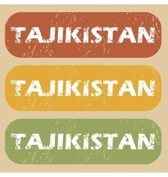 Vintage tajikistan stamp set vector