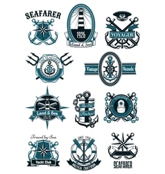Vintage nautical badges with marine items vector