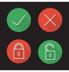 File access flat linear icons set vector