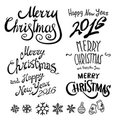 Christmas retro icons elements and set happy new vector
