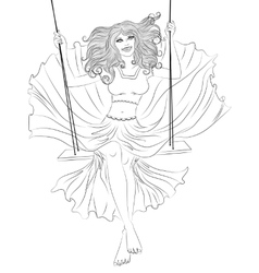 The girl in a flowing dress on a swing outline vector