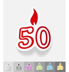 Realistic design element candle fifty vector