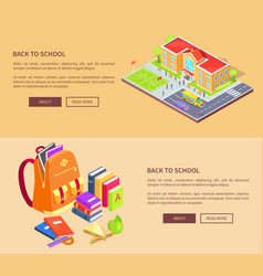 Back to school posters with building and supplies vector