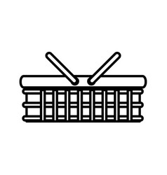 Basket picnic wicker lunch outline vector