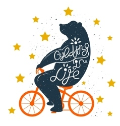 Bear on bike vector