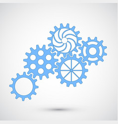 Blue gears on grey background infographic concept vector