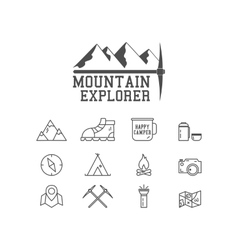 Camping mountain explorer camp badge logo vector