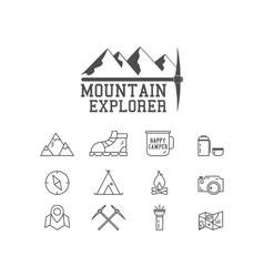 Camping mountain explorer camp badge logo vector image