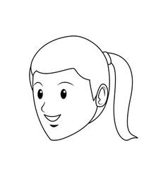 Cartoon face young girl student vector