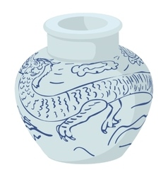 Chinese vase icon cartoon style vector
