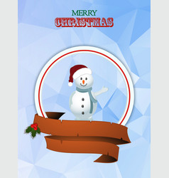 Christmas border with snowman and banner vector