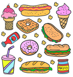collection of food various doodles vector image